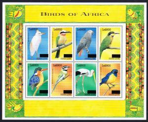 Sierra Leone Birds Sheetlet of 8v overprint RARR MI#5033-5040