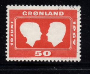 Greenland Sc 69 1967 Royal Wedding stamp used