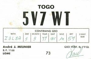 7362 Amateur Radio QSL Card  LOME TOGO