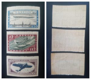 O) 1933 LATVIAN, IMPERFORATE, ENGLISH SEAPLANE SC CB22 - GRAF ZEPPELIN OVER