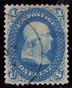 US Stamp #63 1c Franklin USED SCV $45++. Blazing Color, Wonderful Margins!