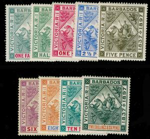 BARBADOS SG116-124, Diamond Jubilee COMPLETE SET, M MINT. Cat £300.