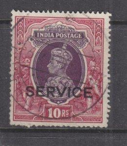 INDIA, SERVICE, 1939 KGVI 10r. Purple & Claret, used.