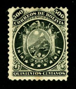 BOLIVIA  1868  CONDOR  500c black  Scott # 14 mint MH *OG - VF centering - RARE