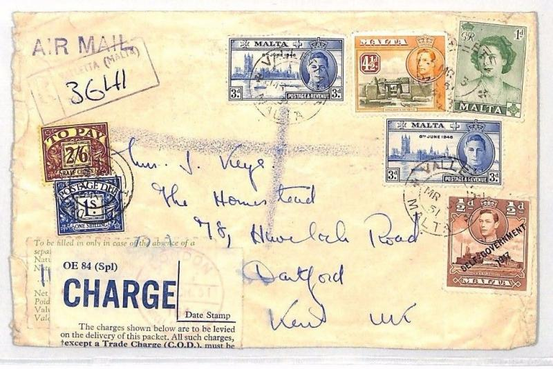 BH182 1951 MALTA Valetta REGISTERED Airmail Cover GB London Customs Charge