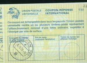 GERMANY C22 horizontal UPU Watermark 1976 -- International Reply Coupon IRC