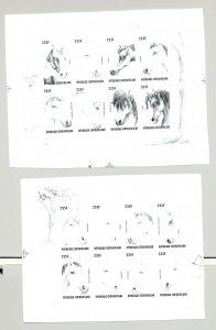 Central Africa #1137-39 Horses 2v Imperf M/S of 8 & Imperf S/S Black Chromalin