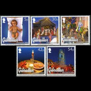 GIBRALTAR 2003 - Scott# 954-8 Christmas Set of 5 NH