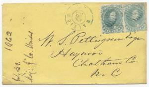 CSA Scott #4 x2 Stone 3 Position 50, 47 Blue Grids Raleigh, NC CDS 30 July 1862