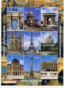 Madagascar MNH M/S 1999 Philex France Monuments Architecture Louvre [72666]
