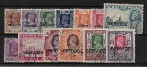 BURMA SGO28/40 1946 BRITISH CIVIL ADMINISTRATION OFFICIAL SET USED