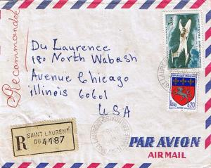 French Guiana France 20c Saint-Lo Arms and 3F MS 760 Paris Airplane 1968 973-...