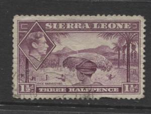 Sierra Leone - Scott 175A - KGVI - Definitive -1938 - Used - Single 1.1/2d Stamp