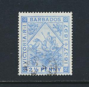 BARBADOS 1897, 2½d JUBILEE BLUED PAPER VF USED SG#128 CAT£45 (SEE BELOW)