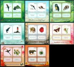 PE267-274 2014 MALI BUTTERFLIES BIRDS DINOSAURS ANIMALS DOLPHINS !!! 8BL MNH