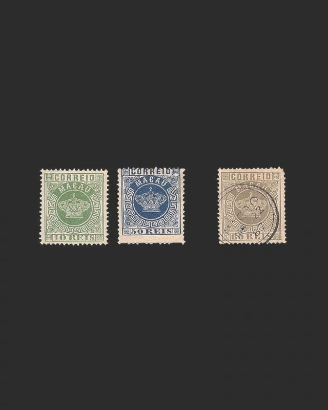 VINTAGE:MACAU-PORTUGAL 1885 UNU,OG HR,USD LHR  SCOTT # 3 11 12 $117 LOT1885-X99