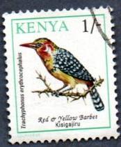 Kenya Scott #597 1sh Red and Yellow Barbet, bird (1993) used