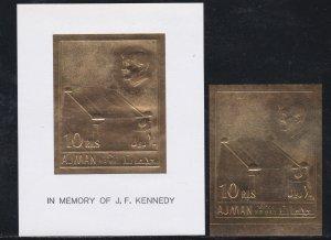 Ajman M # 208 & Block # 20, John F. Kennedy Gold Foil, Imperfs, NH