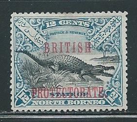 North Borneo 112 12c Crocodile single Unused NO GUM