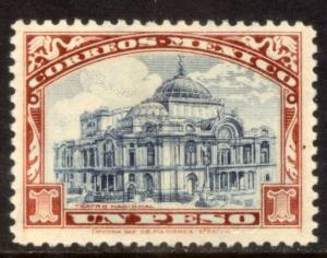 MEXICO 649, $1Peso PALACE OF FINE ARTS. Mint, NH. F-VF.