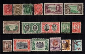 Southern Rhodesia  17 different used and mint hinged