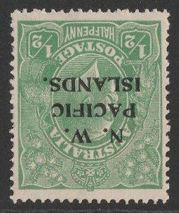 NEW GUINEA - NWPI 1918 KGV ½d green Large Mult wmk inverted.