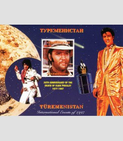 TURKMENISTAN 1997 SPACE Halley's Comet Elvis Presley s/s Perforated Mint (NH)