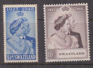 SWAZILAND, 1948 Silver Wedding pair, mnh.