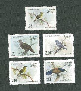 Sri Lanka MNH 691-4,877 Birds Fauna SCV 7.90