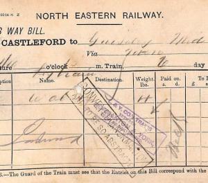 CB260 1893 GB RAILWAY Castleford Station Way Bill *CONVEYED VIA NORMANTON* Yorks