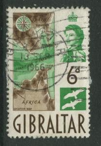 Gibraltar - Scott 153 - QEII Definitive Issue -1960- Used - Single 6d Stamp
