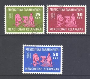 Malaya Federation Scott 111/113 - SG32/34, 1963 Freedom from Hunger FFH Set used