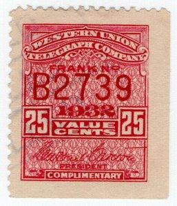 (I.B) USA Telegraphs : Western Union 25c (1932)