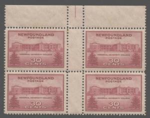 Newfoundland 1943 30c University Gutter Block Sc# 267 mint