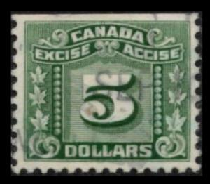 CANADA REVENUE 1934 VINTAGE VERY SCARCE $5 GREEN #FX89 EXCISE TAX FINE/VF USED