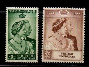 British Honduras Sc 129-30 1948 Silver Wedding G VI stamp set mint