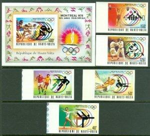EDW1949SELL : BURKINA FASO Scott #387-89, C228-29a. 1976 Olympics Imperf VF MNH.
