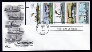 US 2409a Steamboats Booklet Pane Artcraft U/A FDC