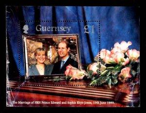 Guernsey 1999 Flower Royal Wedding Prince Edward & Sophie S/S £1 Sc.690 Used