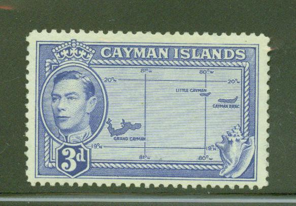 Cayman  Scott 117 KGVI on Map stamp from 1947 MH* CV$3.50