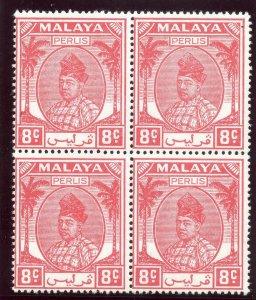 Malaya - Perlis 1951 KGVI 8c scarlet block of four superb MNH. SG 13. Sc 12.