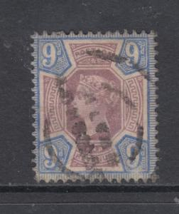 Great Britain Sc 120 used 1887 9p blue & lilac Queen Victoria, F-VF