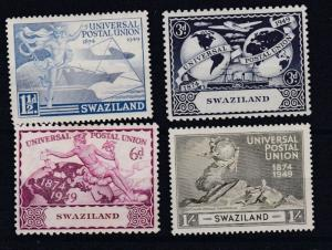 SWAZILAND   1949  UNIVERSAL POSTAL UNION SET OF FOUR  M H