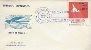 COSTA RICA CONCORDE, SPECIAL DELIVERY Sc E5 FDC 1976