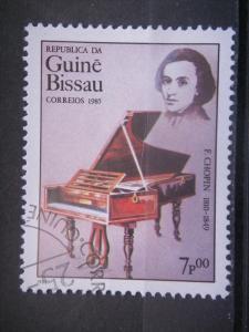GUINEA-BISSAU, 1985, used 7p, Chopin, Scott 657