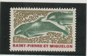 St. Pierre & Miquelon  Scott#  391  MH  (1969 Pilot Whales)