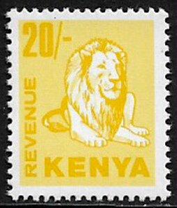 Kenya 20/- Revenue Stamp - Lion