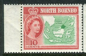 NORTH BORNEO; 1961 early QEII issue fine Mint hinged Marginal value, 10c