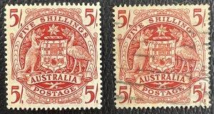 Australia #218 MNH VF/XF + #218 Used VF/XF - 5s Coat of Arms c1949-1950 [R786]