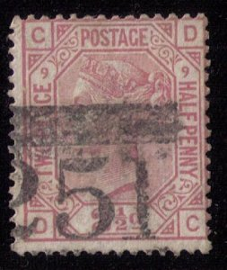 Great Britain Sc #67 (P9) Used (Sg 141) F-VF CV $55.00